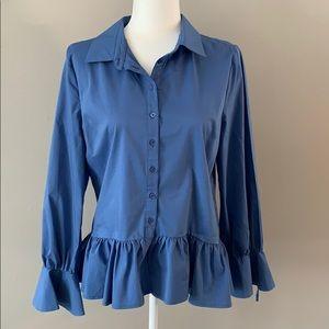 Marled Blue Long Sleeve Button Up Peplum